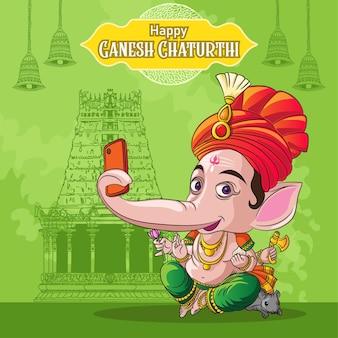 Gelukkige ganesh die selfie op tempelachtergrond klikt