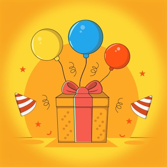 Gelukkige geboortedag geven met ballonornament en vlammende hoed