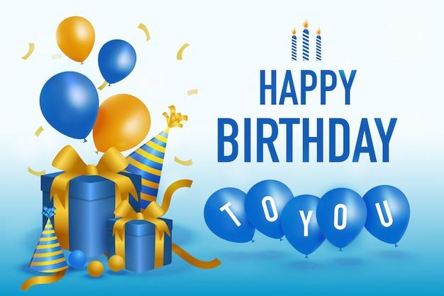 Gelukkige geboortedag illustratie met blauwe huidige dozen, feestmuts en ballonnen