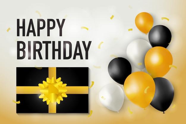 Gelukkige geboortedag illustratie met luxe huidige doos en glanzende ballonnen