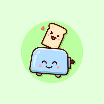 Gelukkige gezichtsbrood en toasterillustratie