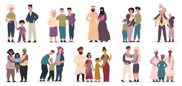 Gelukkige gezinnen. grote gezinnen bij elkaar, mama, papa en kinderen, lachende moeder, vader en kinderen