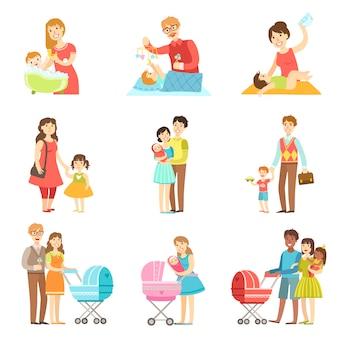 Gelukkige gezinnen met kinderen en baby's