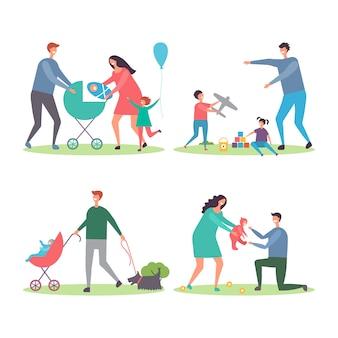 Gelukkige gezinnen met kinderen en honden. moeders en vaders die en met kinderen in de stadsparkillustratie lopen spelen