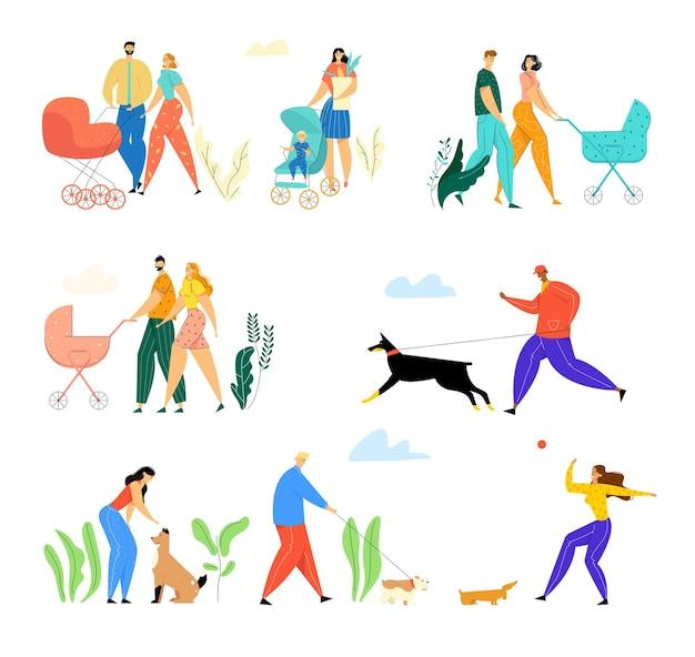 Gelukkige gezinnen met kleine kinderen en eigenaren met huisdieren die buiten op straat lopen.