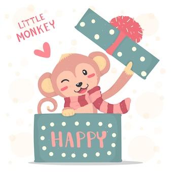 Gelukkige glimlach kleine aap met rode sjaal duikt op in een geschenkdoos, platte vector cute cartoon