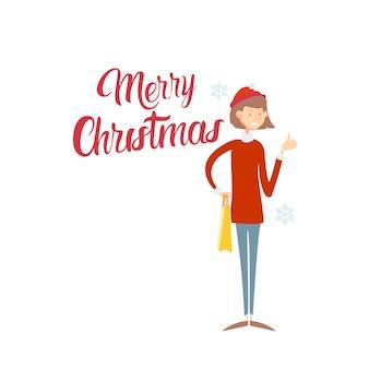 Gelukkige glimlachende bedrijfsvrouw vrolijke kerstmis en nieuwjaar