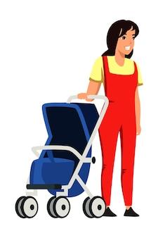 Gelukkige glimlachende jonge moeder met kinderwagen op wit