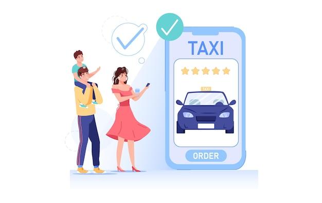 Gelukkige glimlachende mensen die auto online huren met mobiele app-illustratie