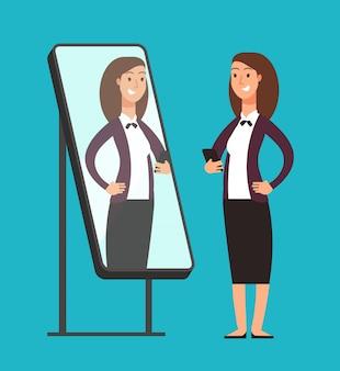 Gelukkige glimlachende narcistische zekere onderneemster die bezinning in spiegel bekijken.