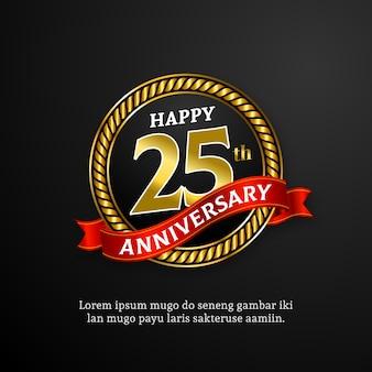 Gelukkige gouden verjaardagsuitnodiging voor 25-jarig jubileum