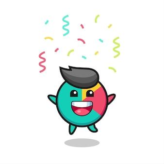 Gelukkige grafiekmascotte die voor felicitatie springt met kleurconfetti, schattig stijlontwerp voor t-shirt, sticker, logo-element