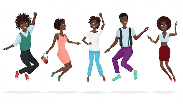 Gelukkige groep het afrikaanse amerikaanse groepswerkvrienden springen.
