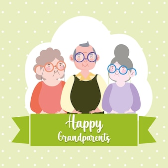 Gelukkige grootouders cartoon