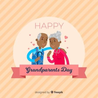 Gelukkige grootouders dag achtergrond in platte ontwerp
