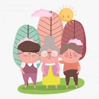 Gelukkige grootouders dag. grootvaders en oma samen in het park