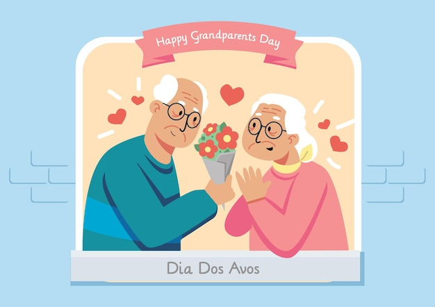 Gelukkige grootouders dag illustratie