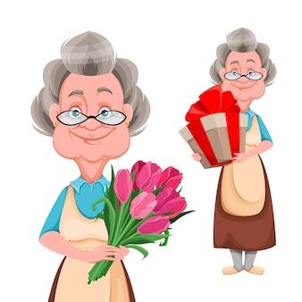 Gelukkige grootouders dag. leuke glimlachende oude vrouw