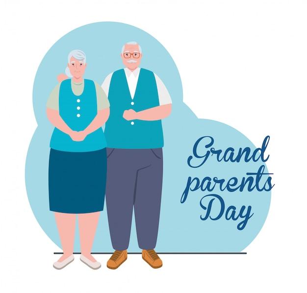 Gelukkige grootouders dag met schattige ouder echtpaar