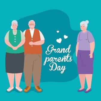 Gelukkige grootoudersdag met het leuke oude ontwerp van de mensenillustratie
