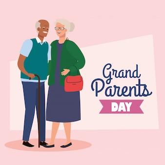 Gelukkige grootoudersdag met het leuke oudere ontwerp van de paar vectorillustratie