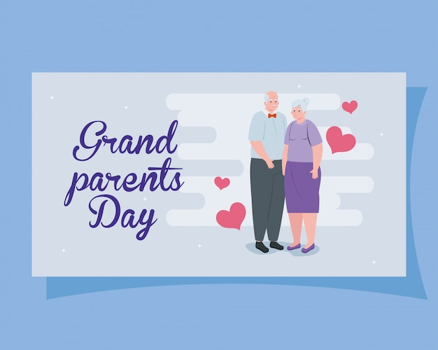 Gelukkige grootoudersdag met leuk ouder paar en hart de illustratieontwerp van de decoratieillustratie