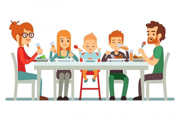 Gelukkige grote familie die diner samen illustratie eten