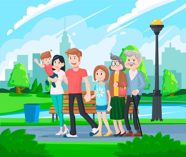 Gelukkige grote familie wandelen in het park. vaderdag, vakantie met het gezin, dochter en zoon houden papa hand.