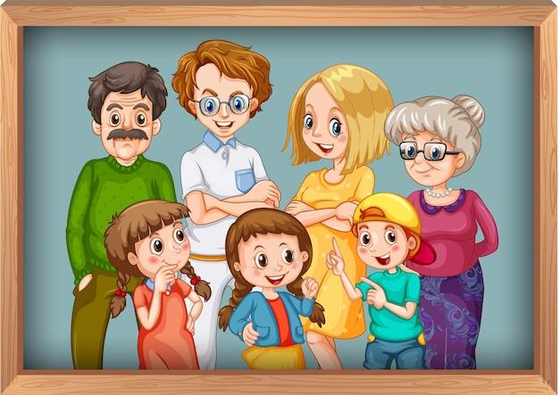 Gelukkige grote familiefoto op houten frame