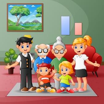 Gelukkige grote familieleden verzamelden zich thuis