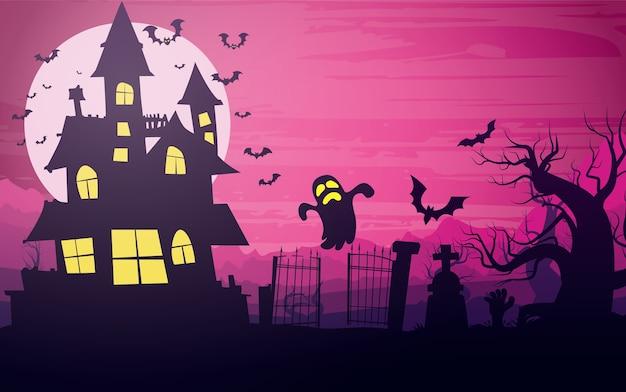 Gelukkige halloween-achtergrond, halloween-illustratie.