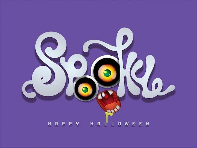 Gelukkige halloween-achtergrond met griezelige 3d doopvont