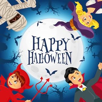 Gelukkige halloween-achtergrond met jonge geitjes gekleed in halloween-kostuum op kerkhof en de volle maanachtergrond