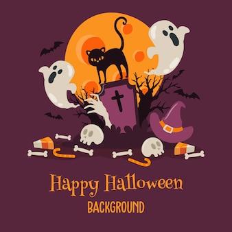 Gelukkige halloween-achtergrond met kat bij begraafplaats