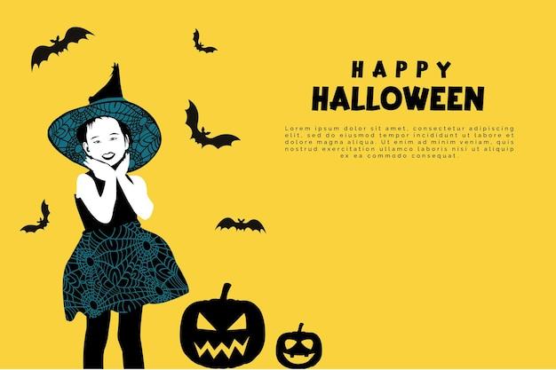 Gelukkige halloween-achtergrond met leuk meisje die halloween-kostuum met spiderweb-pompoenbat dragen