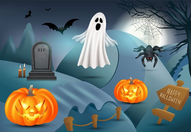 Gelukkige halloween-achtergrond met pompoen, spook, grafsteen, spin. 3d-afbeelding