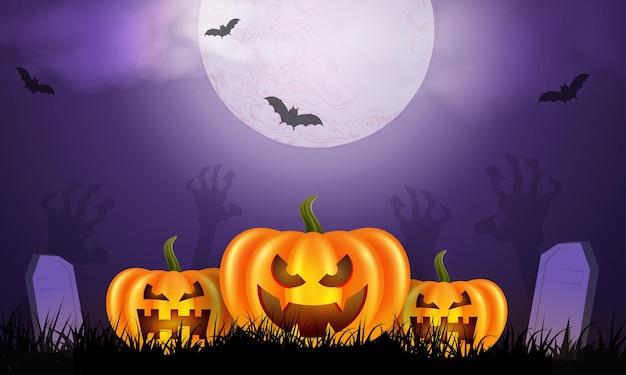 Gelukkige halloween-achtergrond met pompoenen en maan