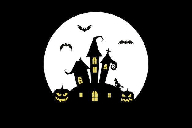 Gelukkige halloween-achtergrond met pompoenen en vleermuizen en kat en nightmoon