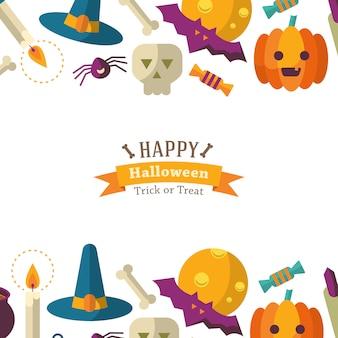Gelukkige halloween-achtergrond met vlakke pictogrammen