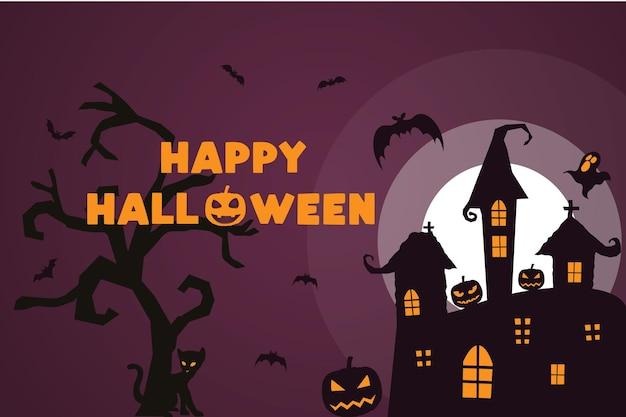 Gelukkige halloween-achtergrondpompoenen griezelige nacht met boom en vleermuizen
