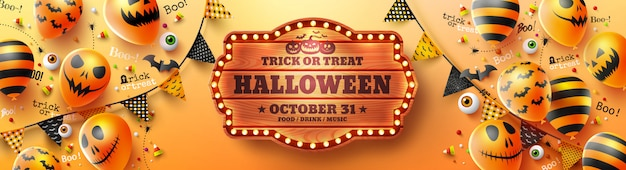 Gelukkige halloween-affiche met halloween-spookballons