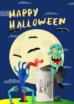 Gelukkige halloween-affiche met zombie op begraafplaats