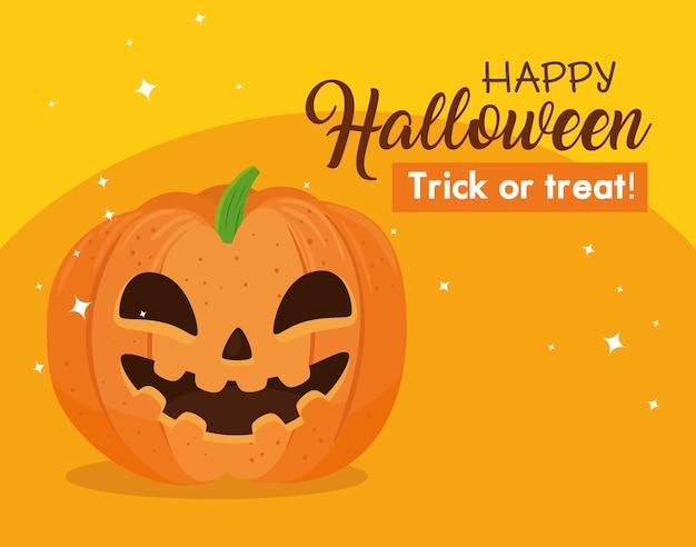 Gelukkige halloween-banner met glimlachende pompoen op oranje achtergrond