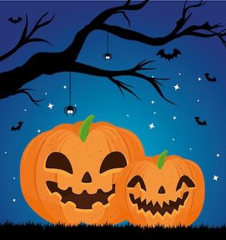 Gelukkige halloween-banner met het vliegen van pompoenen, droge boom en vleermuizen