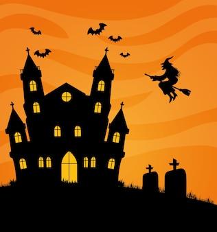Gelukkige halloween-banner met spookachtig kasteel, vleermuizen en heks vliegen