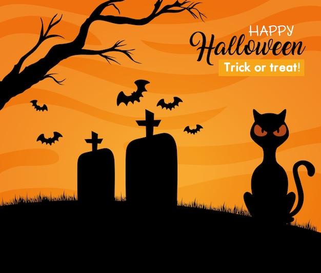 Gelukkige halloween-banner met zwarte kat, vleermuizen die op begraafplaats vliegen