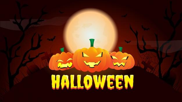 Gelukkige halloween-banner of partijuitnodigingsachtergrond met nacht
