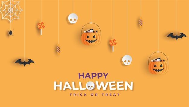 Gelukkige halloween-banner papercutstijl als achtergrond