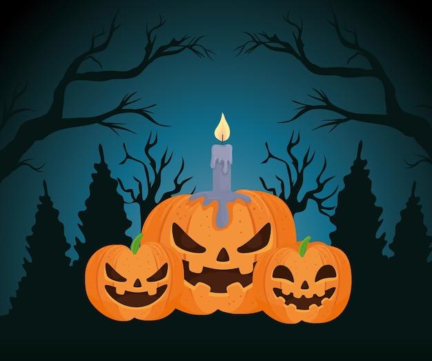 Gelukkige halloween-banner, pompoenen met kaars op donkere nacht
