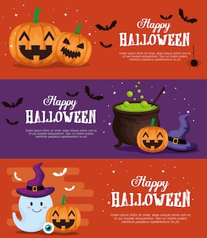 Gelukkige halloween-bannerreeks